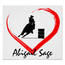 Personalized Silhouette Barrel Racing Horse, Heart Poster
