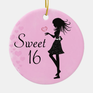 Personalized Silhouette Girl Sweet 16 Ornament