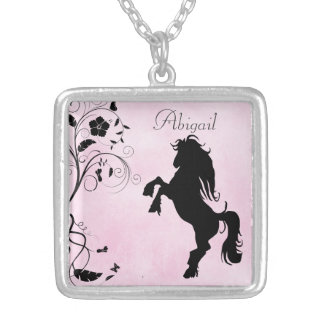 Personalized Silhouette Horse and Flowers Square Pendant Necklace