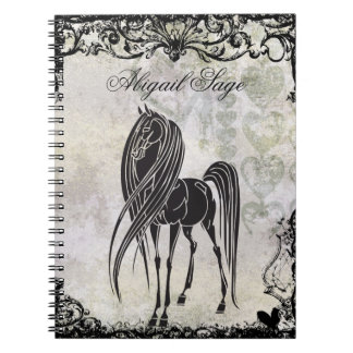 Personalized Silhouette Horse and Grungy Hearts Notebook