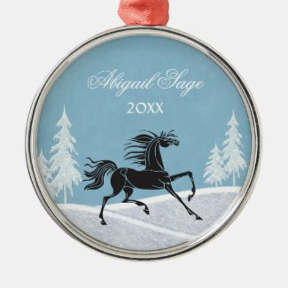 Silhouette Horse and Snow Ornament