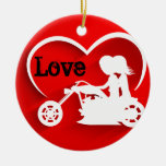 Personalized Silhouette Motorcycle Couple LOVE Double-Sided Ceramic Round Christmas Ornament