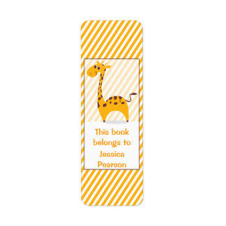Personalized Silly Giraffe Bookplate Return Address Label