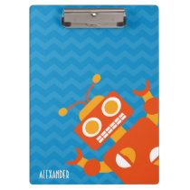 Personalized Silly Orange Robot Blue Chevron Boys Clipboard