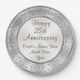 Personalized Silver 25th Anniversary Paper Plates