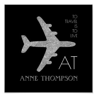 personalized silver airplane travel black poster