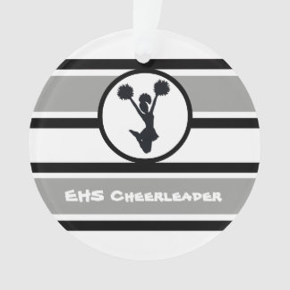 Personalized Silver and Black Cheerleader Ornament