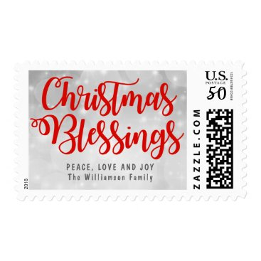 Christmas Themed Personalized Silver and Red Christmas Blessings Postage