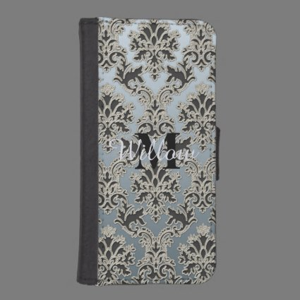 Personalized Silver Black Damask Wallet Phone Case iPhone 5 Wallet Cases