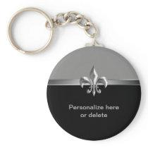Personalized Silver Black Fleur de Lis Keychain