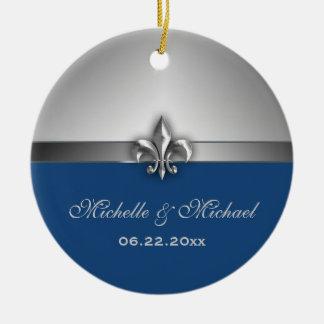 Personalized Silver Blue Fleur de Lis Double-Sided Ceramic Round Christmas Ornament