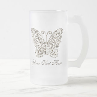 Personalized Silver Butterfly Mugs for Her