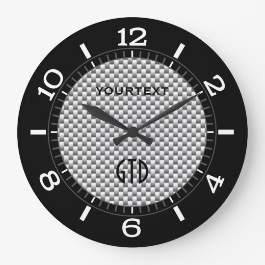 Personalized Silver Carbon Fiber Style Dial On A Large Clock