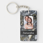 Personalized silver charm collage Double-Sided rectangular acrylic keychain
