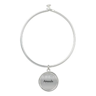 Personalized Silver Dripping Glitter Name Bangle Bracelet