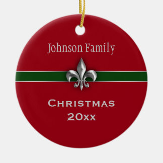 Personalized Silver Fleur de Lis Christmas Ceramic Ornament