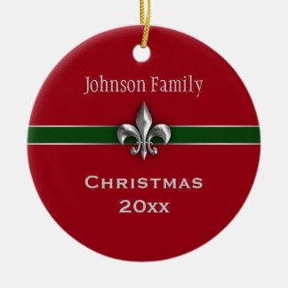 Personalized Silver Fleur de Lis Christmas Double-Sided Ceramic Round Christmas Ornament