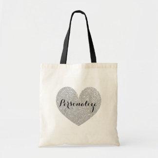 Personalized silver glitter heart design tote bag