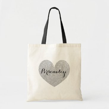Valentines Themed Personalized silver glitter heart design tote bag