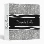 Personalized Silver Glitter Zebra Striped Recipe Binders