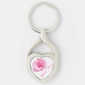 Personalized Silver Heart Pink Rose Keychain Key Chains
