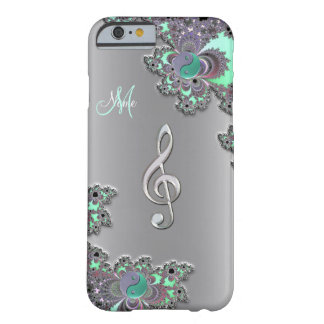 Personalized Silver Music Clef Fractal iPhone Case