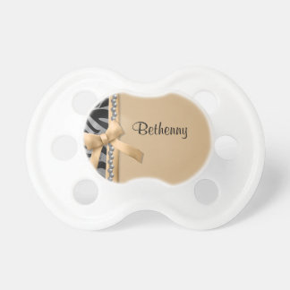 Personalized Silver Pearls Gold Zebra Pacifier