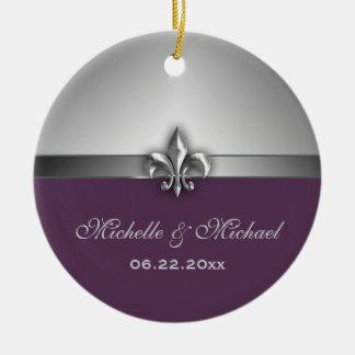 Personalized Silver Purple Fleur de Lis Double-Sided Ceramic Round Christmas Ornament