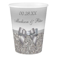 Personalized Silver Sequins Bow Wedding Paper Cup