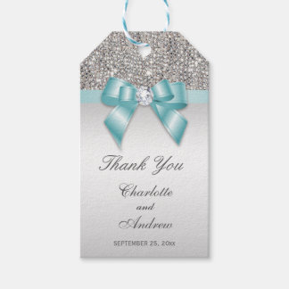 Personalized Silver Sequins Diamond Bow Wedding Gift Tags