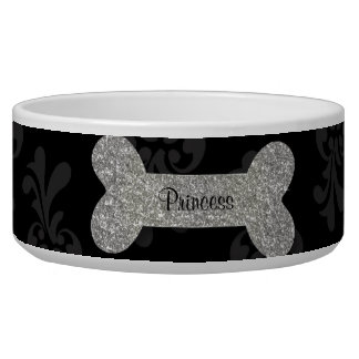 Personalized silver shiny dog bone pet food bowl