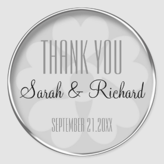 Personalized Silver Thank You Wedding