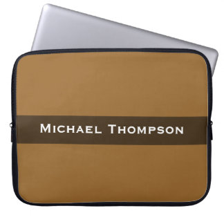 Personalized simple brown color computer sleeves