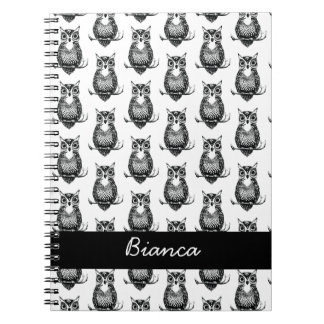 Personalized Simple Illustrated Owl Pattern Notebook