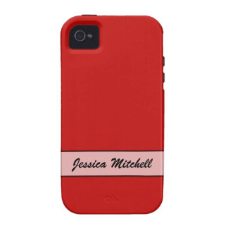 Personalized Simple red color Case-Mate iPhone 4 Case