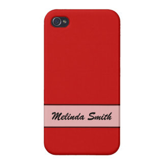 Personalized Simple red color iPhone 4 Case