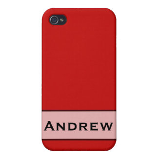 Personalized Simple red color iPhone 4 Cases
