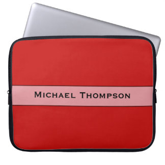 Personalized Simple red color Laptop Sleeve