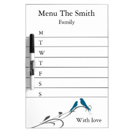 Personalized Simple Swirl Bird Menu Weekly Dry-Erase Board
