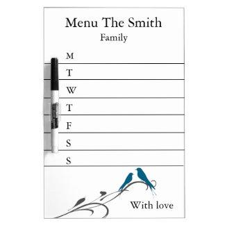 Personalized Simple Swirl Bird Menu Weekly Dry-Erase Board