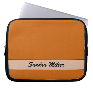 Personalized simple yellow orange color laptop computer sleeve