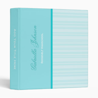 Personalized: Simply Blue Striped Binder