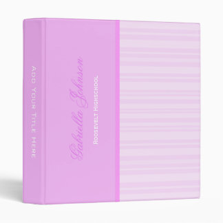 Personalized: Simply Pink Striped Binder