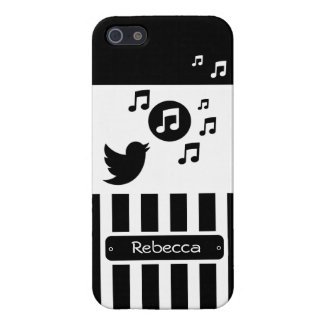 Personalized singing bird black white stripes cover for iPhone 5/5S