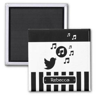 Personalized Singing Bird Black White Stripes Refrigerator Magnets