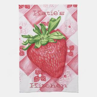 Personalized Single Strawberry Art Kitchen Towel
