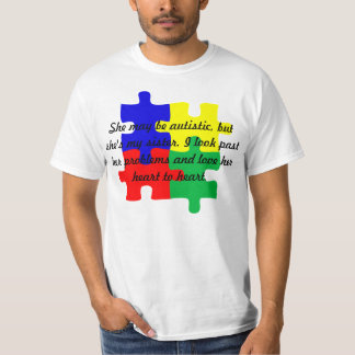 "Personalized ""Sister"" Autism T-Shirt in Men's"
