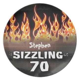 Personalized Sizzling At Seventy Memorabilia Plate
