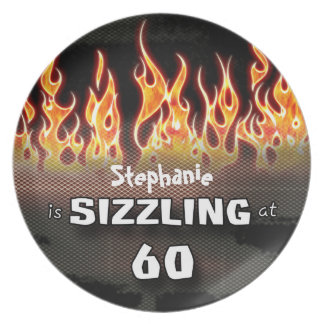 Personalized Sizzling At Sixty Memorabilia Plate