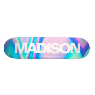 Personalized Skateboard Name Holographic Wave